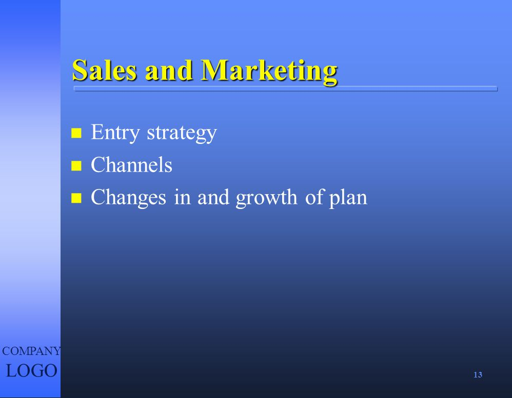 Sales and Marketing Entry strategy Channels