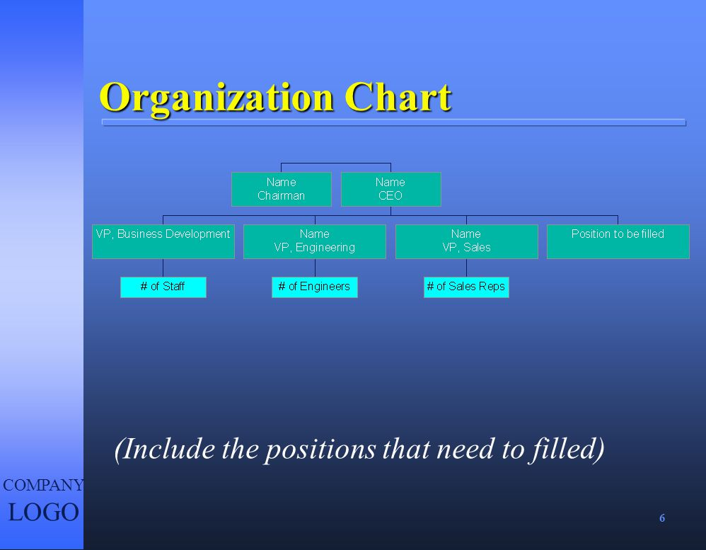 Organization Chart (Include the positions that need to filled)