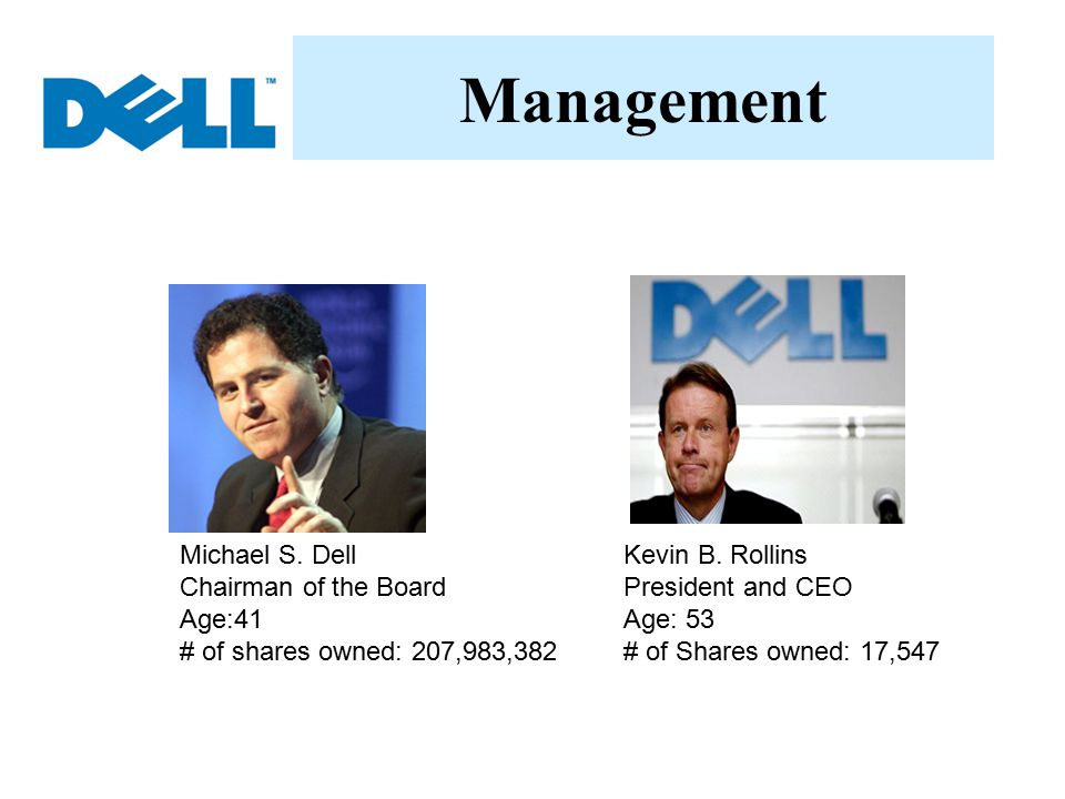 Management Michael S. Dell Chairman of the Board Age:41