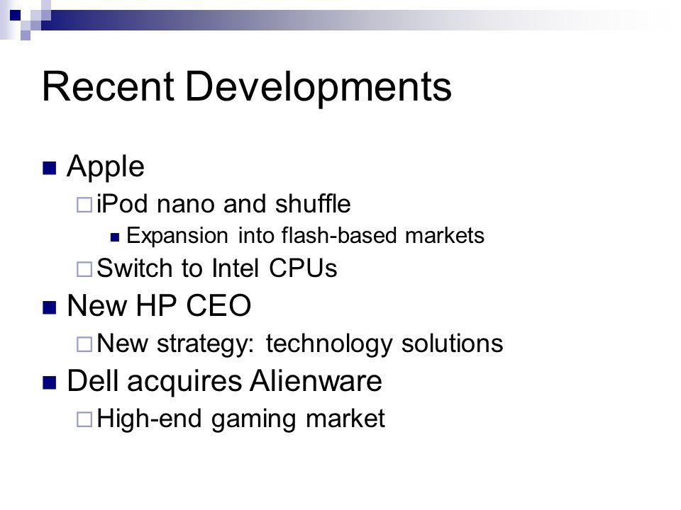 Recent Developments Apple New HP CEO Dell acquires Alienware