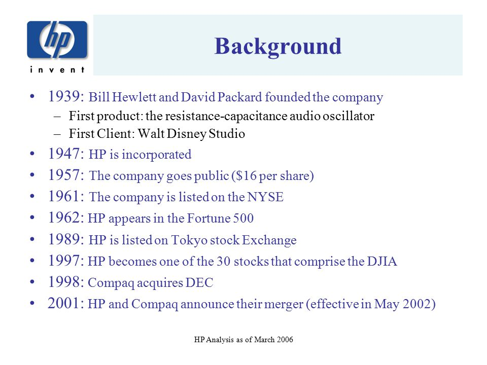 Background 1939: Bill Hewlett and David Packard founded the company