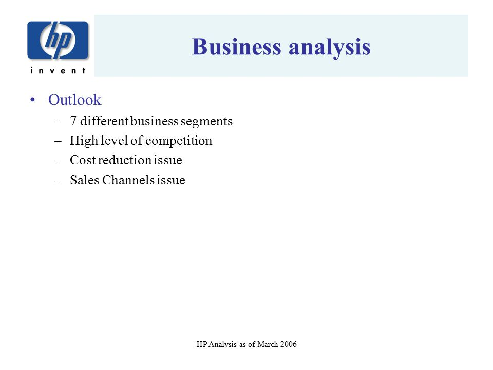 Business analysis Outlook 7 different business segments
