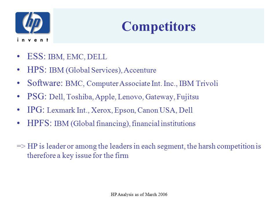 Competitors ESS: IBM, EMC, DELL HPS: IBM (Global Services), Accenture