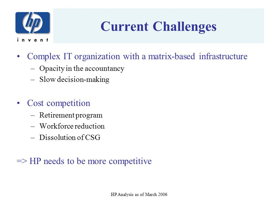 Current Challenges Complex IT organization with a matrix-based infrastructure. Opacity in the accountancy.