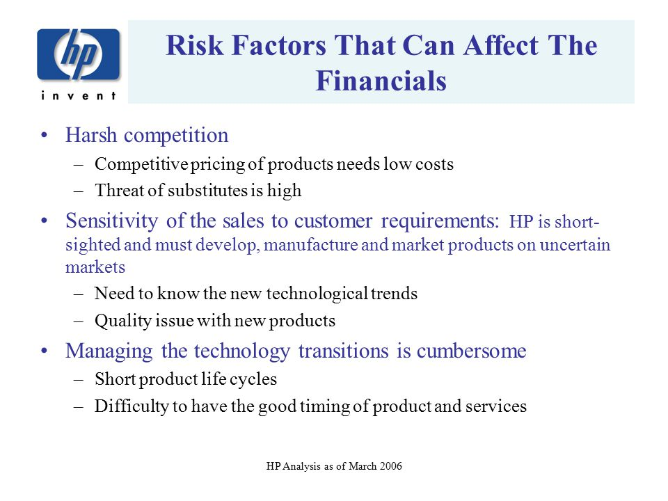 Risk Factors That Can Affect The Financials