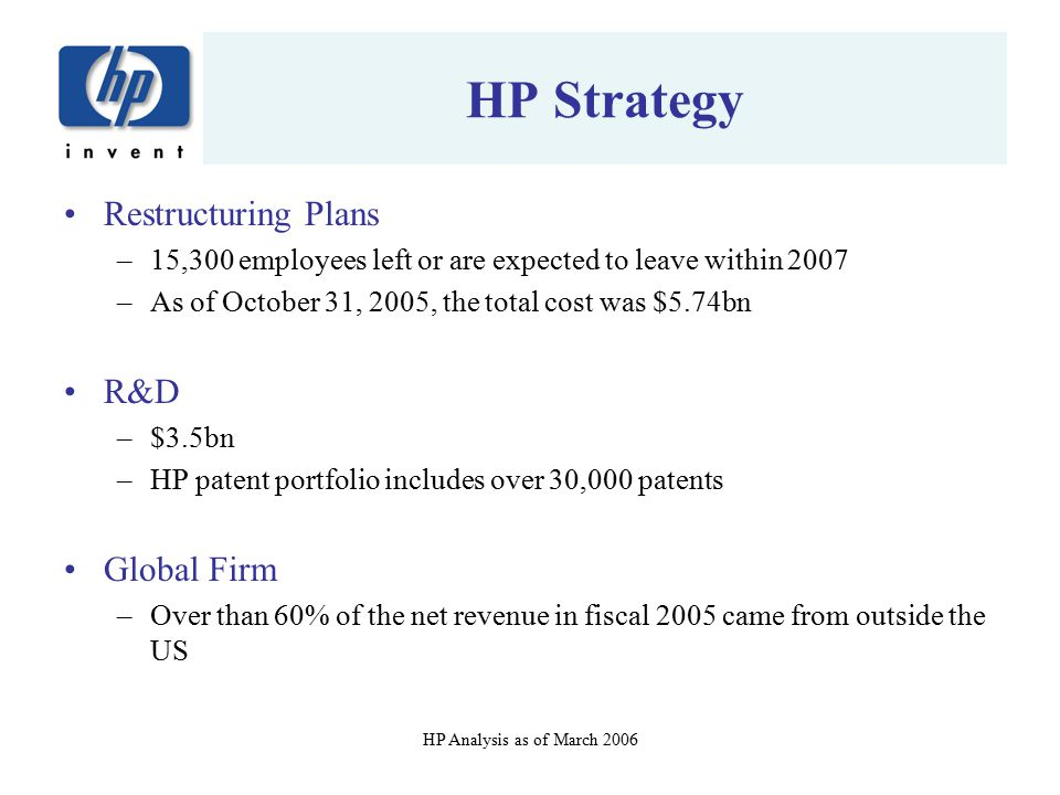 HP Strategy Restructuring Plans R&D Global Firm