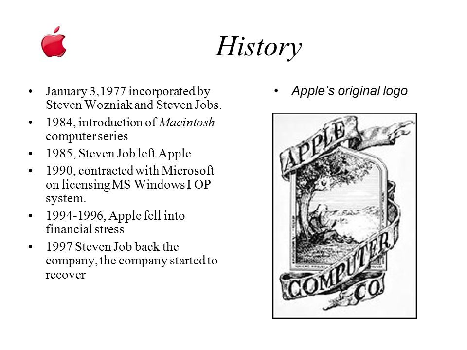 History January 3,1977 incorporated by Steven Wozniak and Steven Jobs.