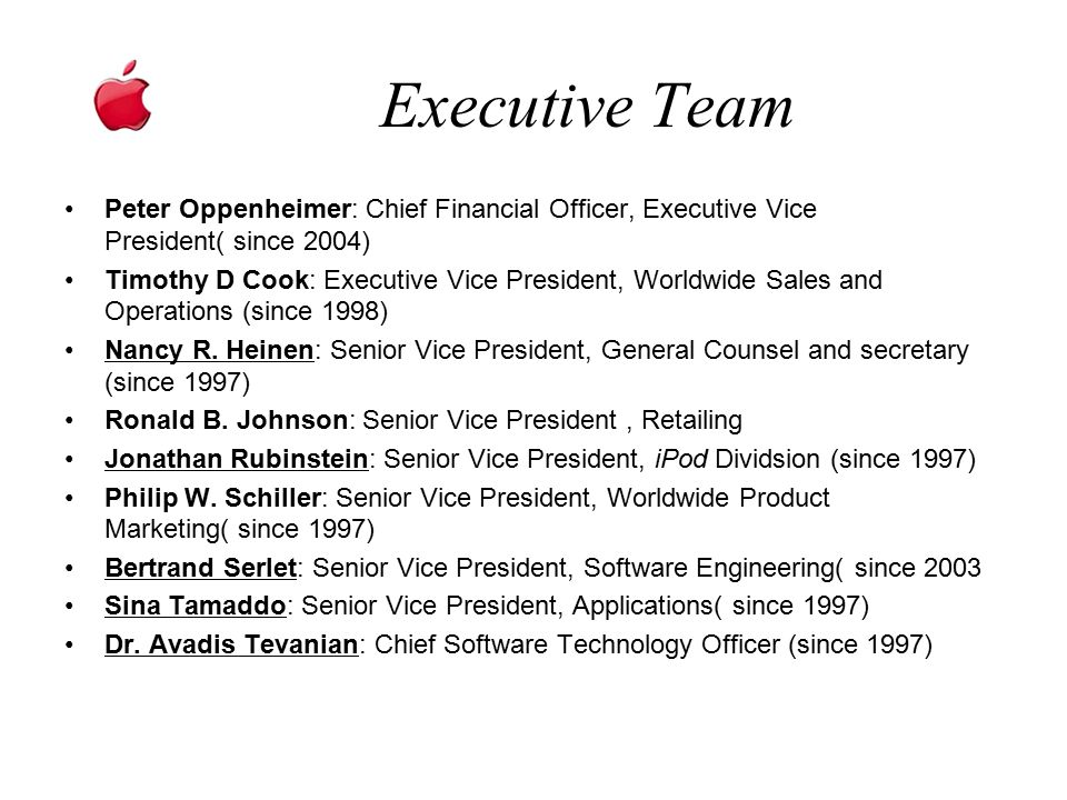Executive Team Peter Oppenheimer: Chief Financial Officer, Executive Vice President( since 2004)