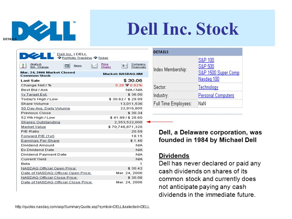 Dell Inc. Stock DETAILS. Dell, a Delaware corporation, was founded in 1984 by Michael Dell. Dividends.