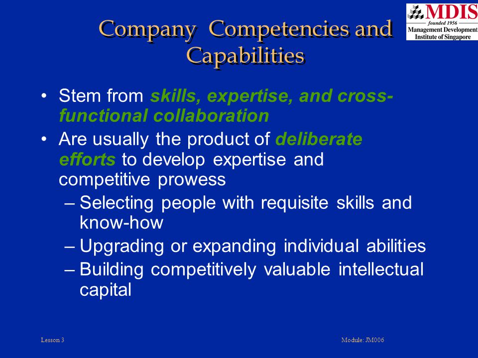 Company Competencies and Capabilities