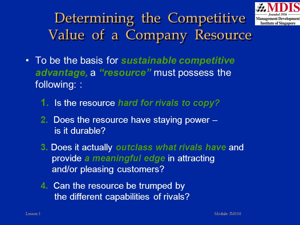 Determining the Competitive Value of a Company Resource