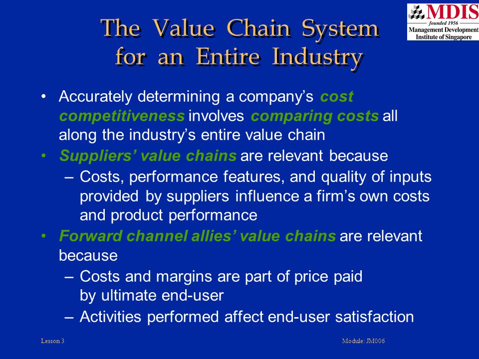 The Value Chain System for an Entire Industry