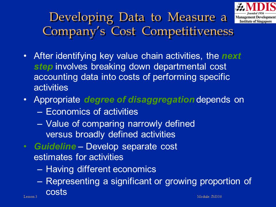 Developing Data to Measure a Company's Cost Competitiveness