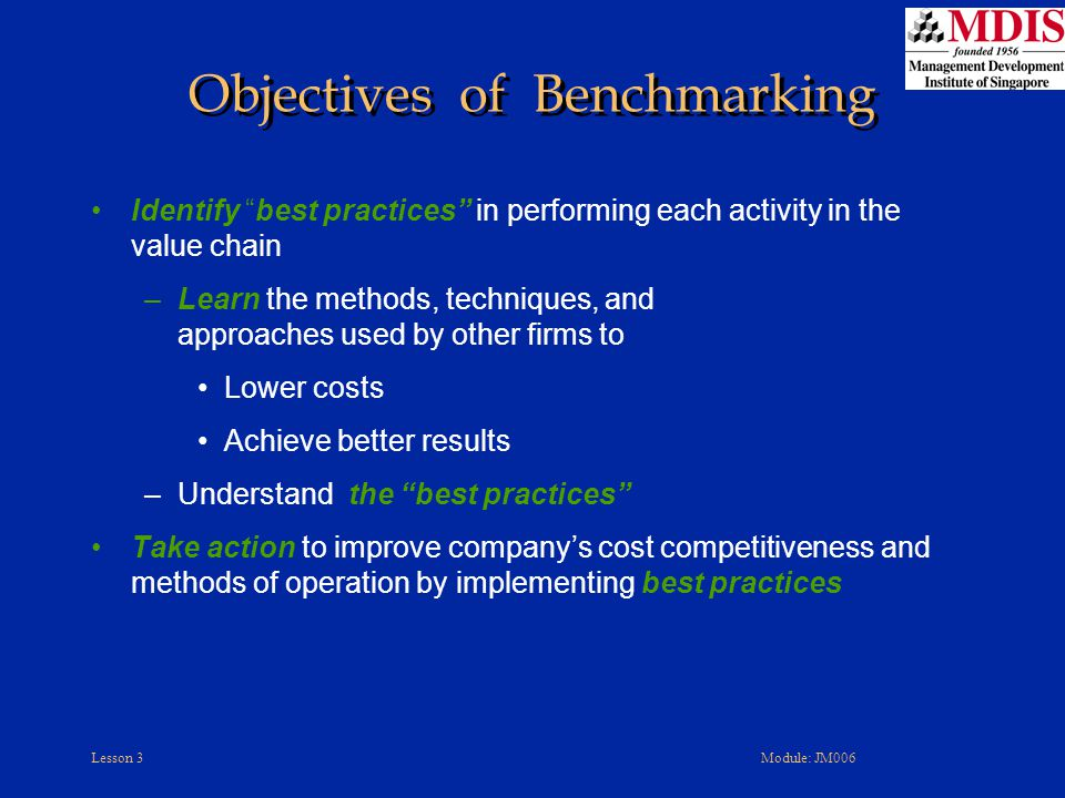 Objectives of Benchmarking