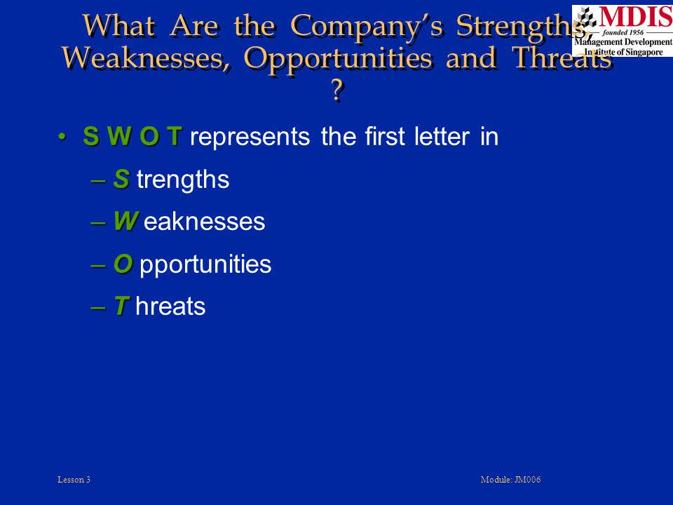 What Are the Company's Strengths, Weaknesses, Opportunities and Threats