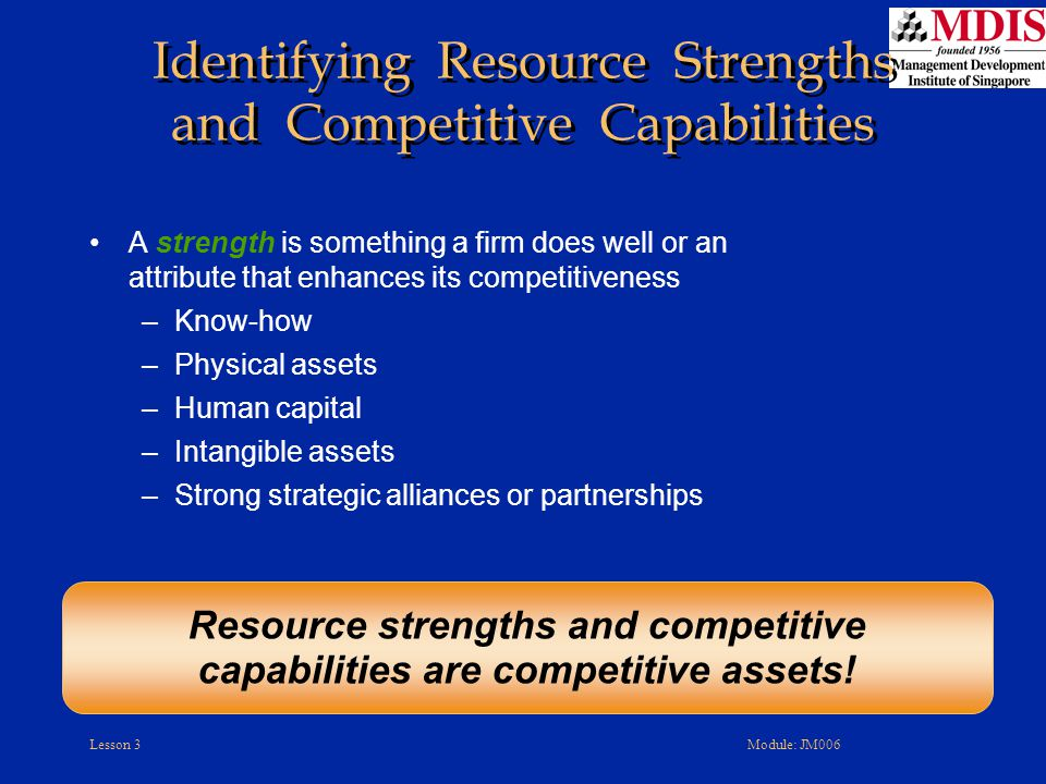 Identifying Resource Strengths and Competitive Capabilities