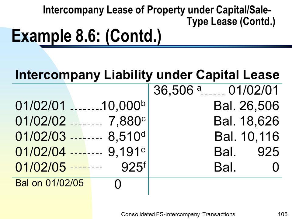 Intercompany Liability under Capital Lease
