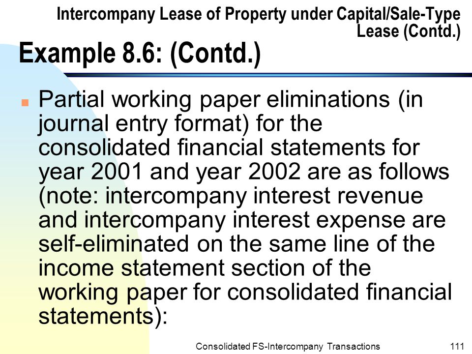 Consolidated FS-Intercompany Transactions