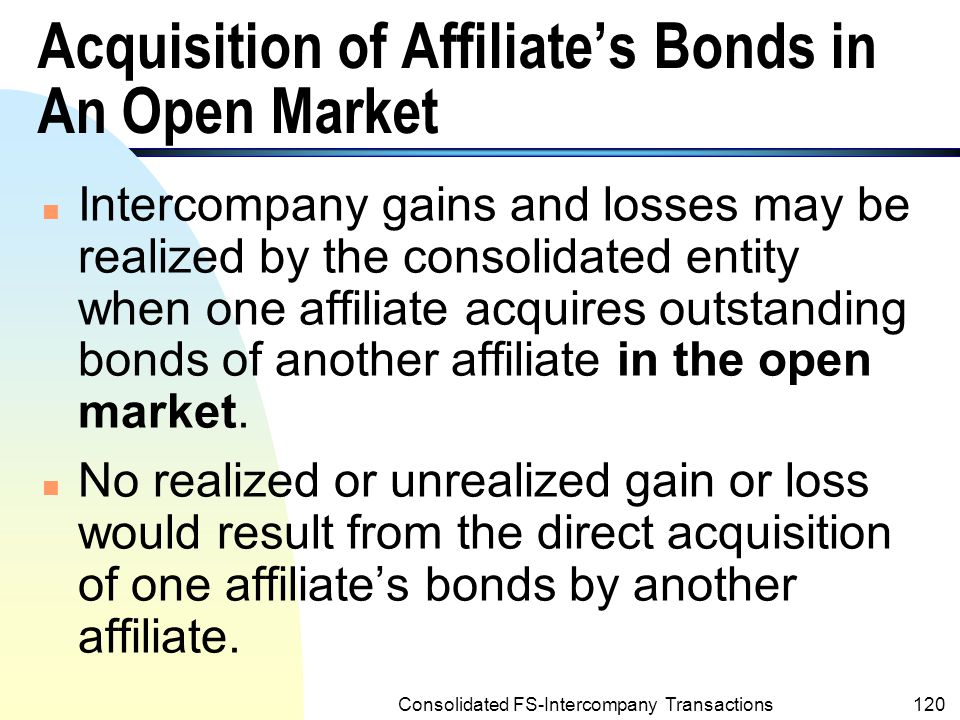 Acquisition of Affiliate's Bonds in An Open Market