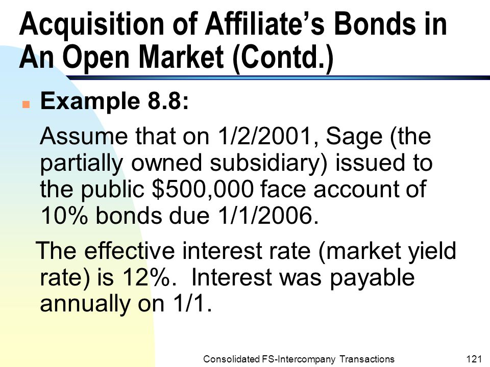 Acquisition of Affiliate's Bonds in An Open Market (Contd.)
