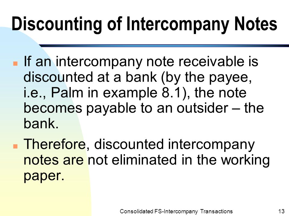 Discounting of Intercompany Notes