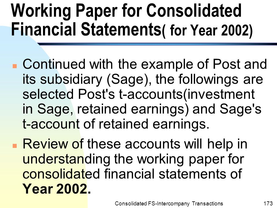 Working Paper for Consolidated Financial Statements( for Year 2002)