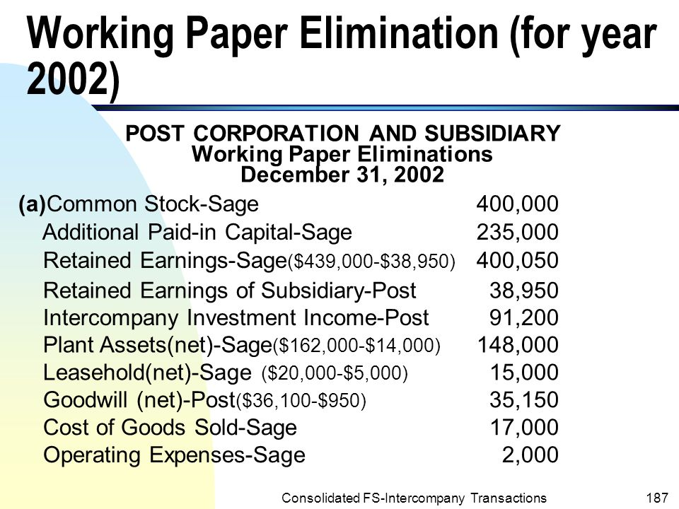 Working Paper Elimination (for year 2002)