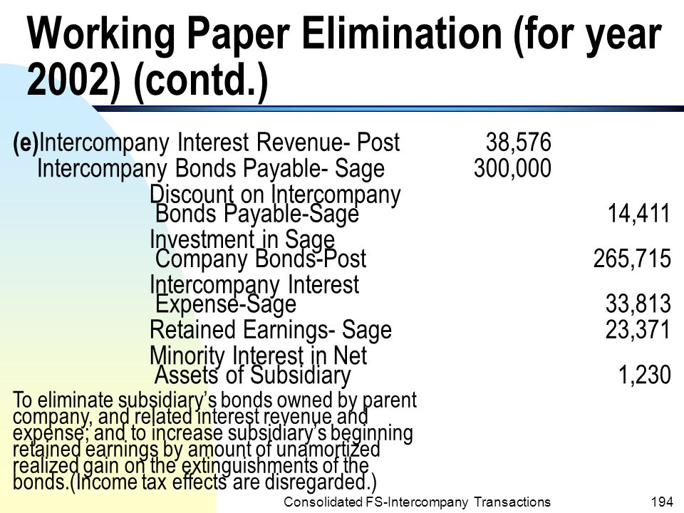 Working Paper Elimination (for year 2002) (contd.)