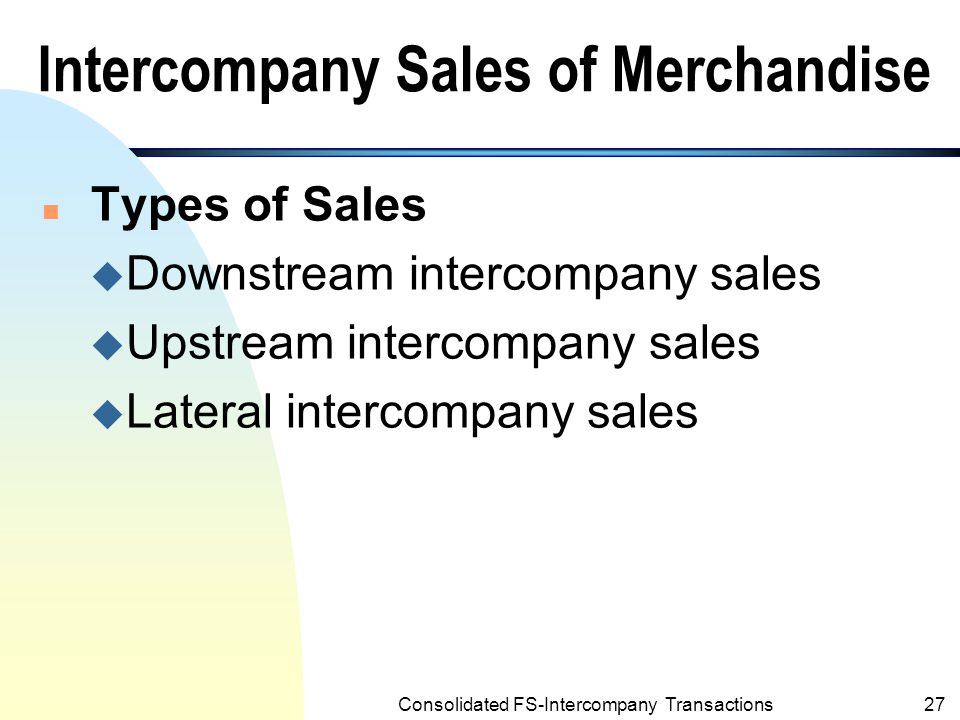 Intercompany Sales of Merchandise