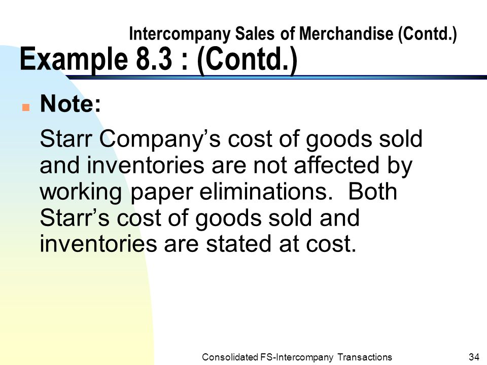 Intercompany Sales of Merchandise (Contd.) Example 8.3 : (Contd.)