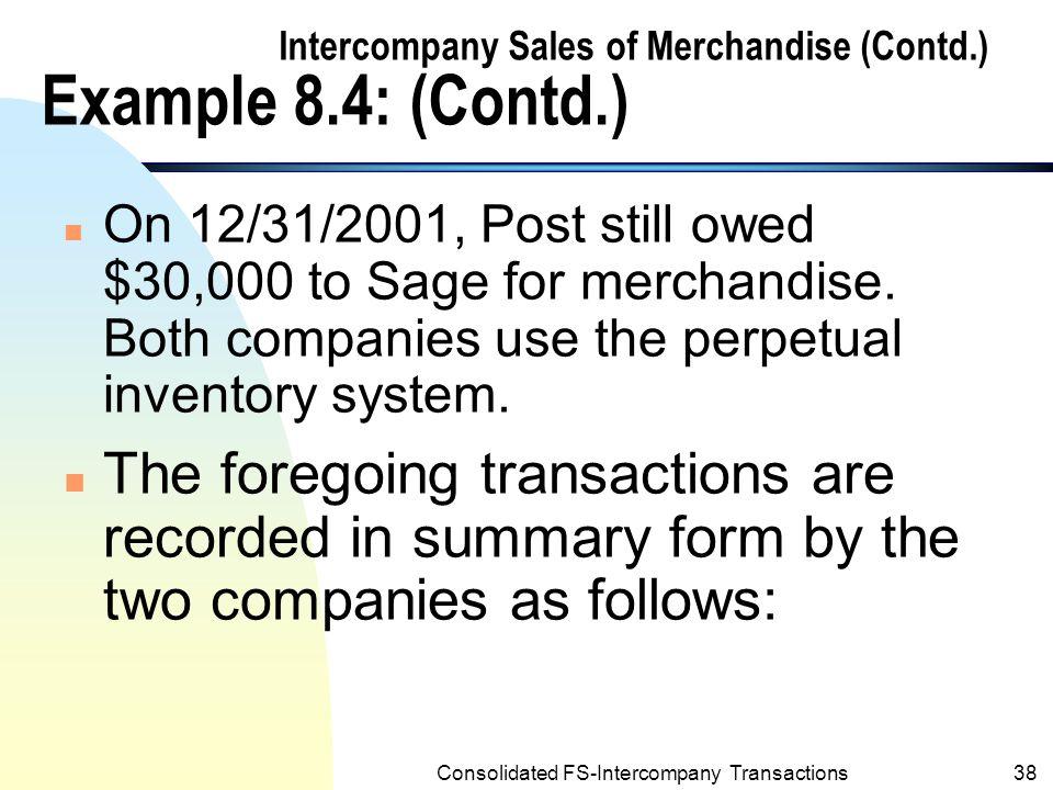 Intercompany Sales of Merchandise (Contd.) Example 8.4: (Contd.)