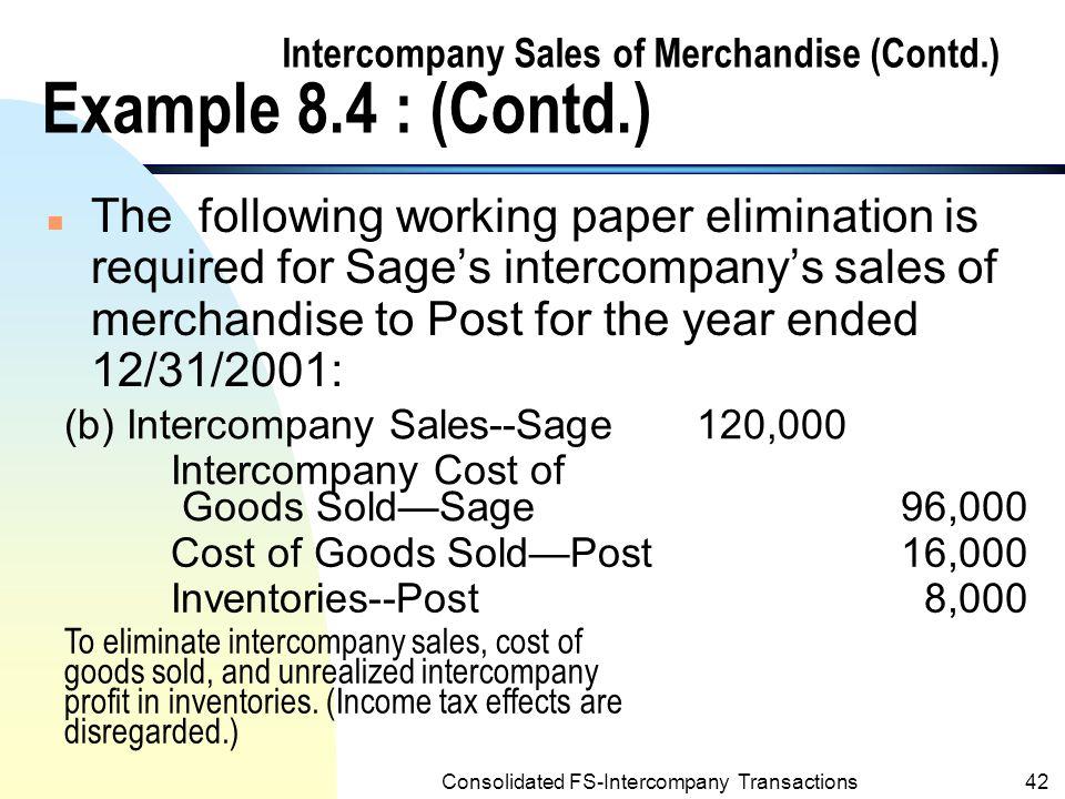 Intercompany Sales of Merchandise (Contd.) Example 8.4 : (Contd.)