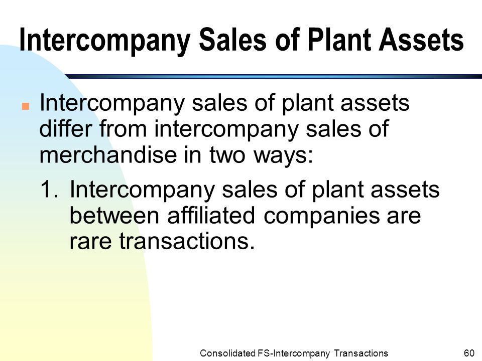 Intercompany Sales of Plant Assets