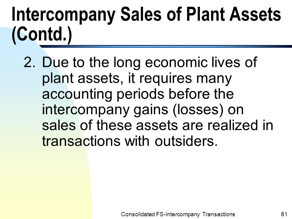 Intercompany Sales of Plant Assets (Contd.)