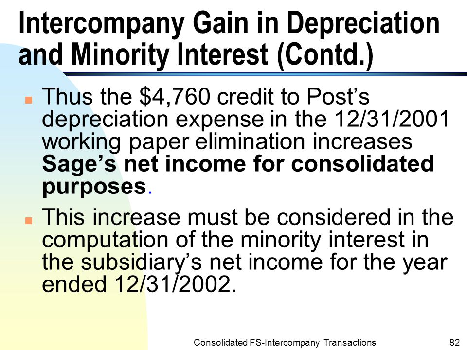 Intercompany Gain in Depreciation and Minority Interest (Contd.)