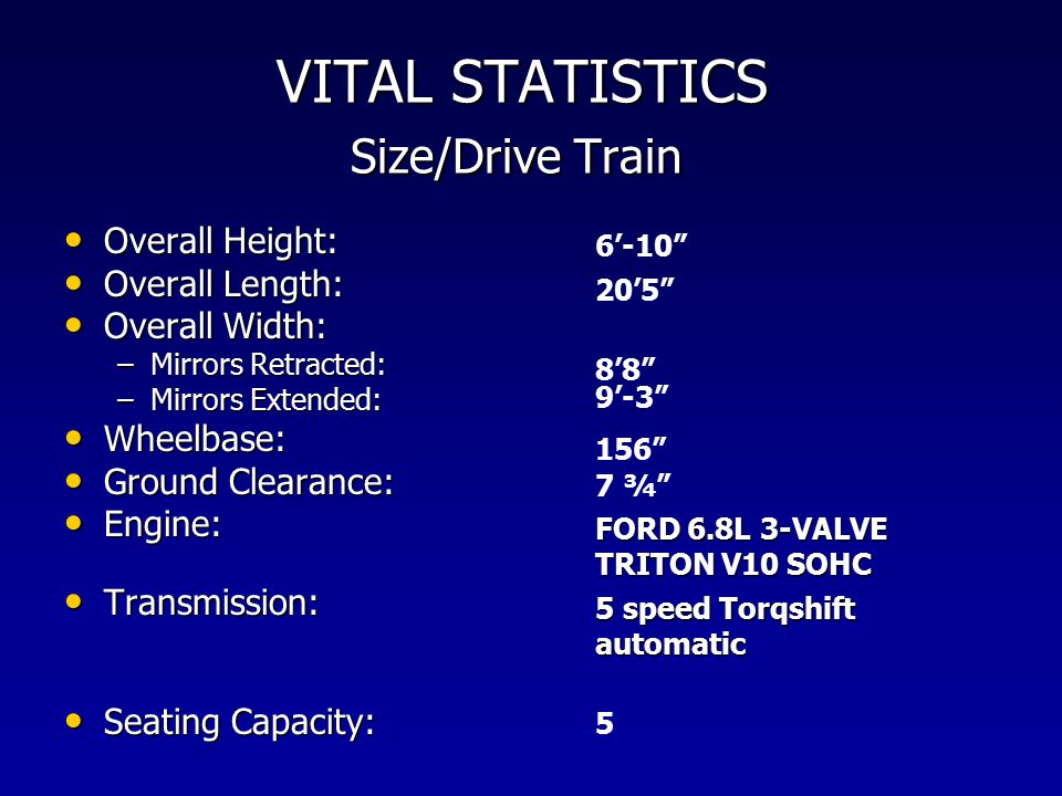 VITAL STATISTICS Size/Drive Train