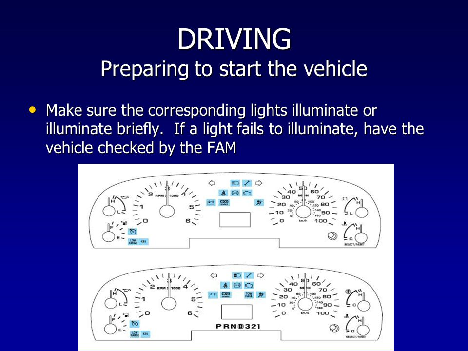 DRIVING Preparing to start the vehicle