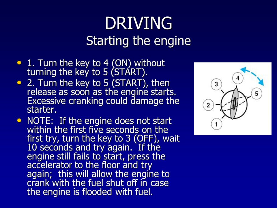 DRIVING Starting the engine