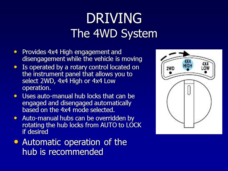 DRIVING The 4WD System Automatic operation of the hub is recommended