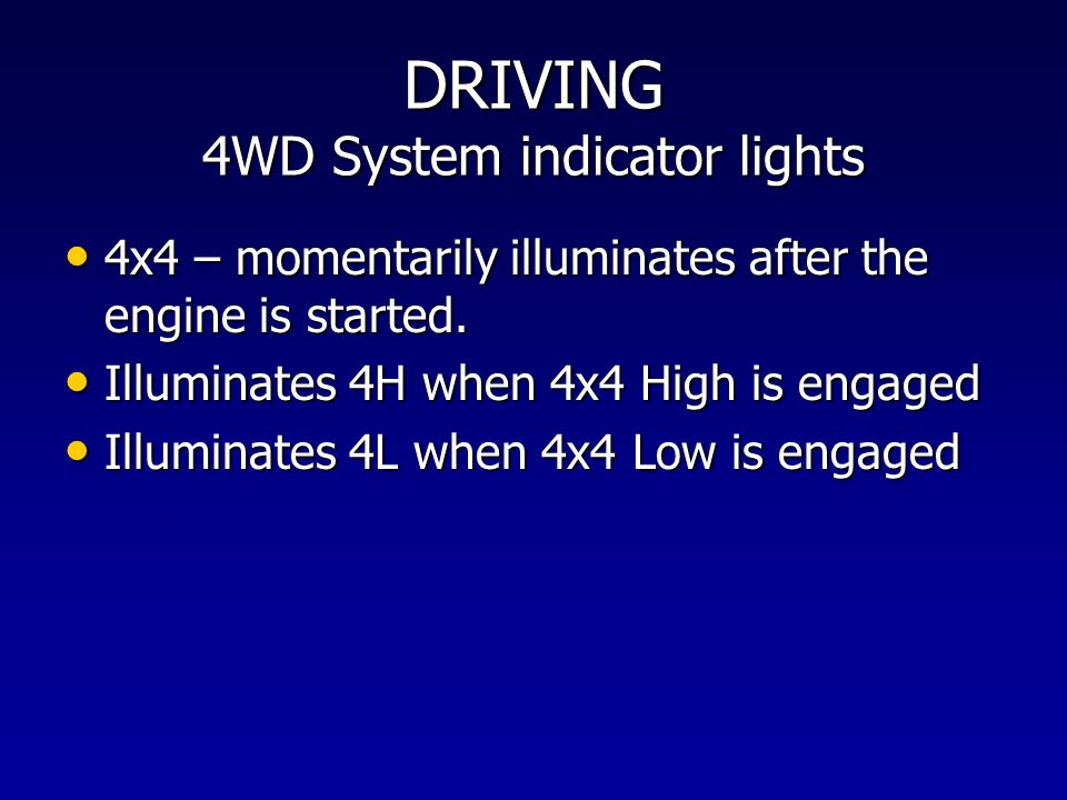 DRIVING 4WD System indicator lights