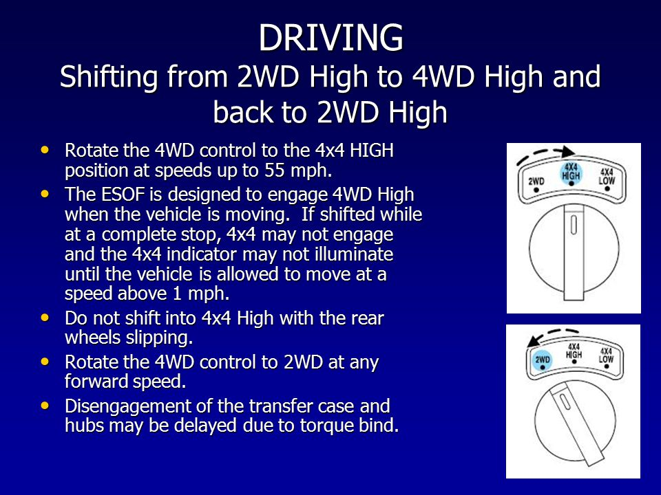 DRIVING Shifting from 2WD High to 4WD High and back to 2WD High