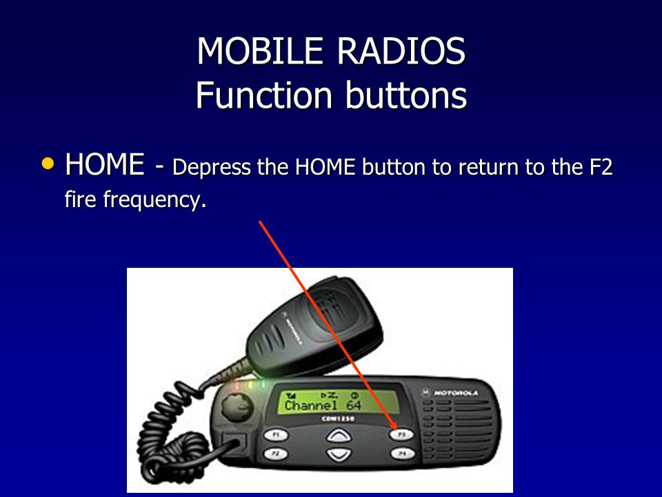 MOBILE RADIOS Function buttons