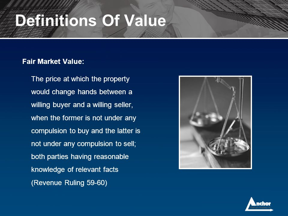 Definitions Of Value Fair Market Value: