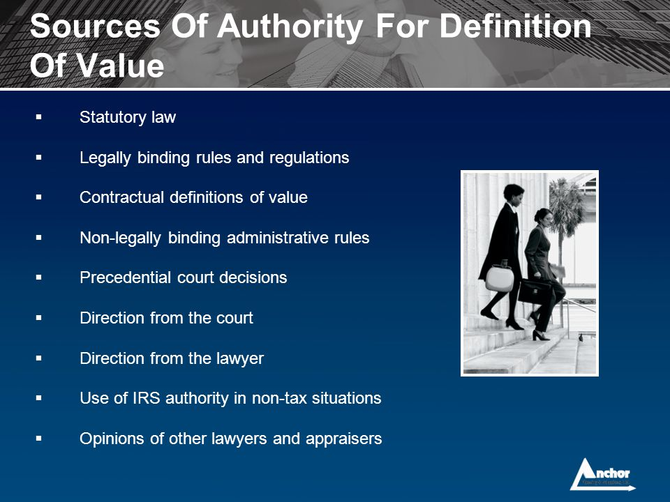 Sources Of Authority For Definition Of Value