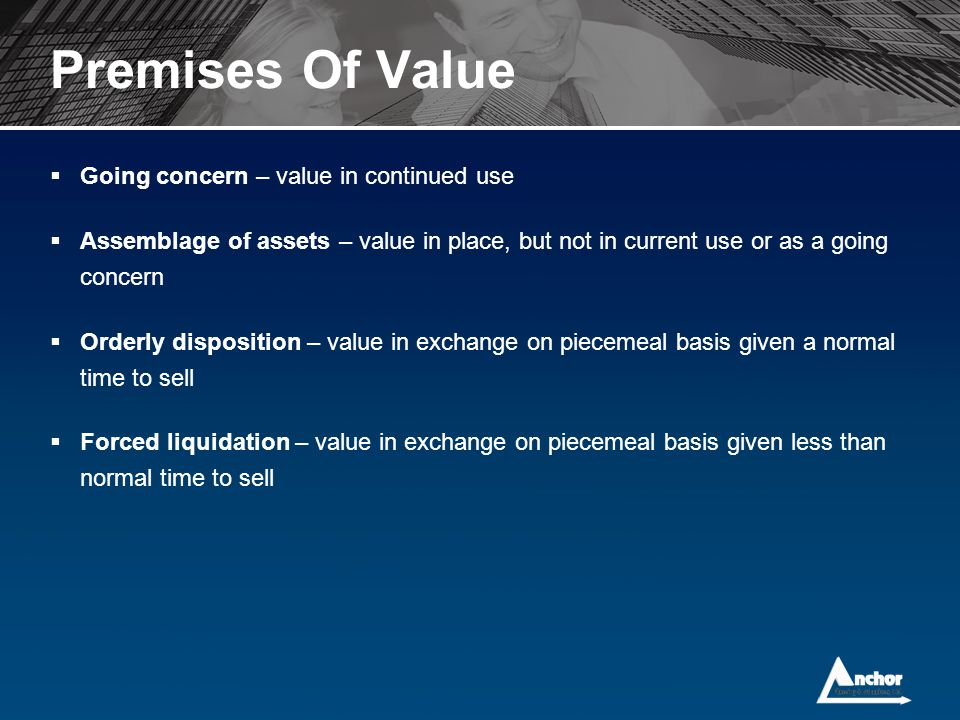 Premises Of Value Going concern – value in continued use