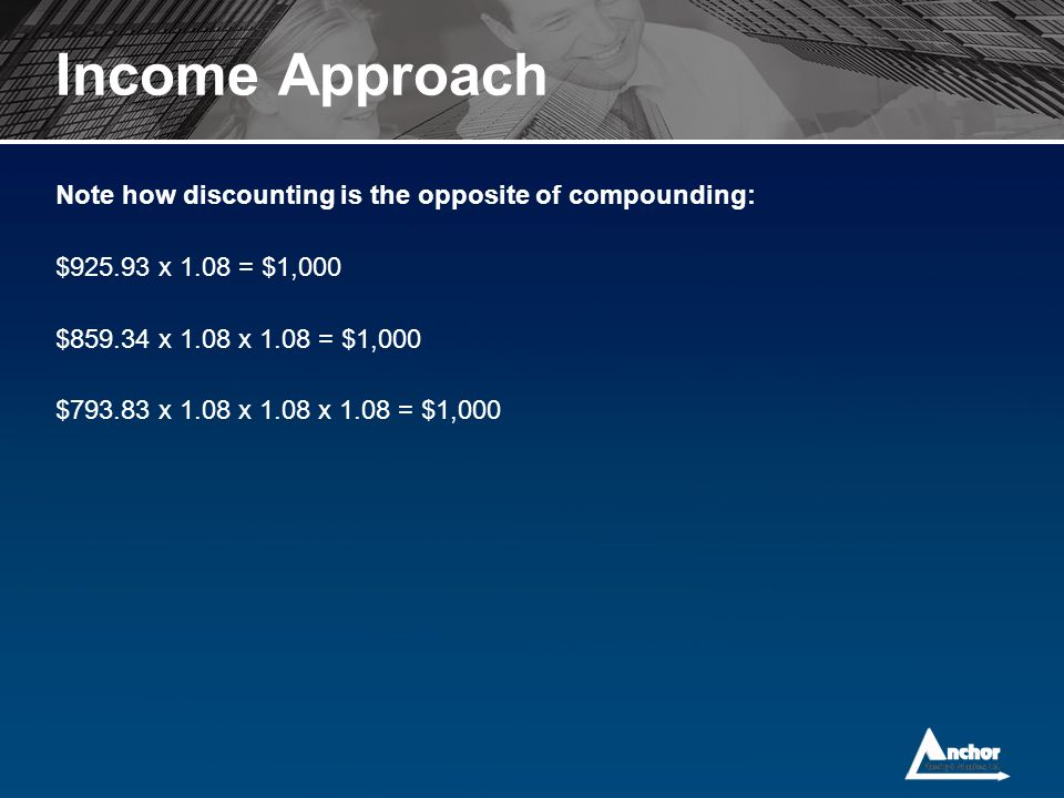 Income Approach Note how discounting is the opposite of compounding: