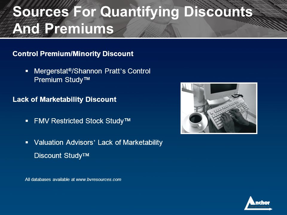 Sources For Quantifying Discounts And Premiums