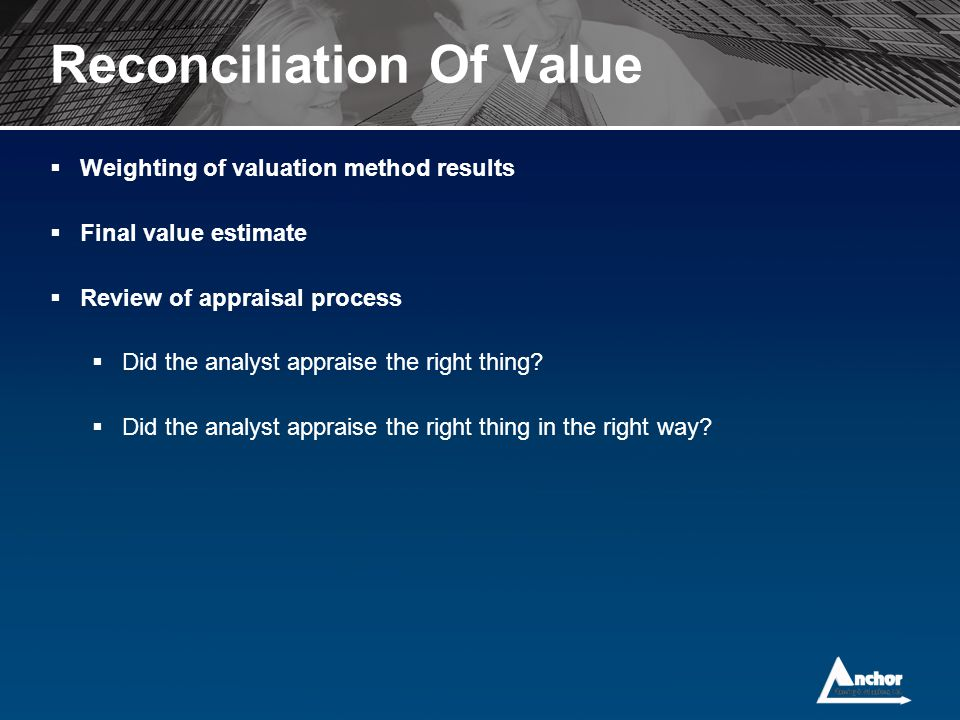 Reconciliation Of Value