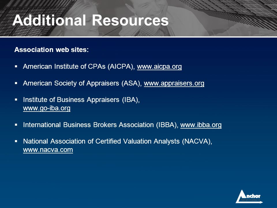 Additional Resources Association web sites: