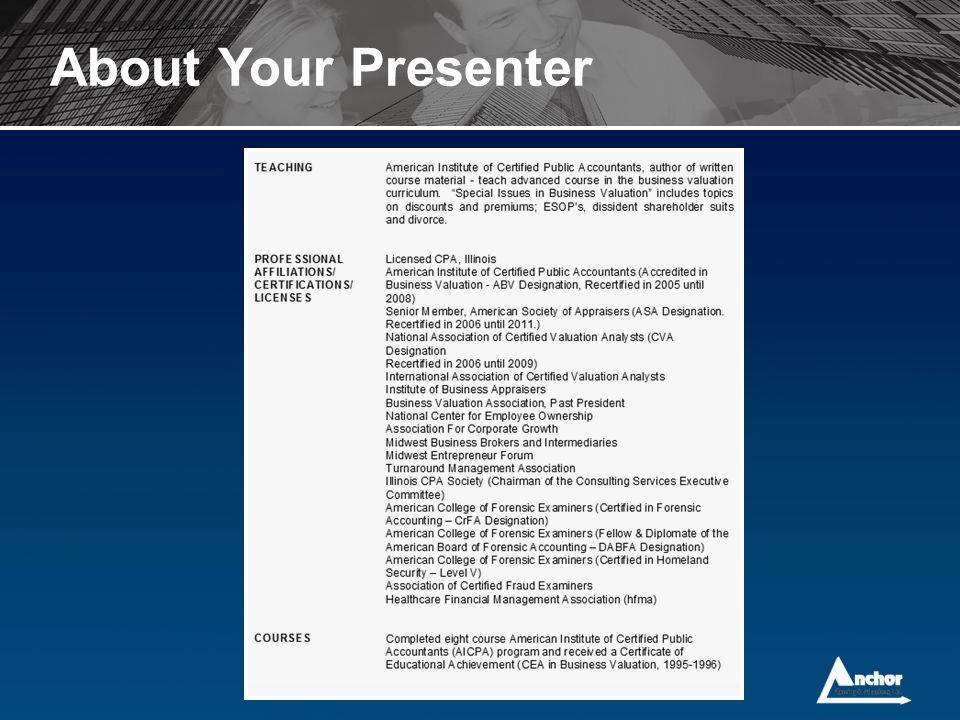 About Your Presenter
